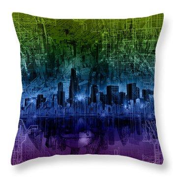 Chicago Skyline Gradient Version Throw Pillow