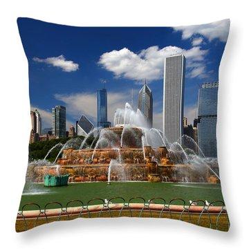 Chicago Skyline Grant Park Fountain Clouds Throw Pillow