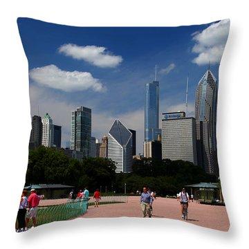 Chicago Skyline Grant Park Throw Pillow