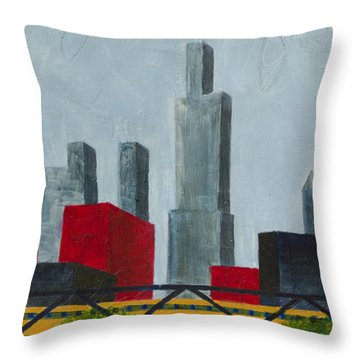 Chicago Skyline I Throw Pillow