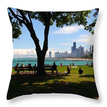 Chicago Skyline Lakefront Park Throw Pillow