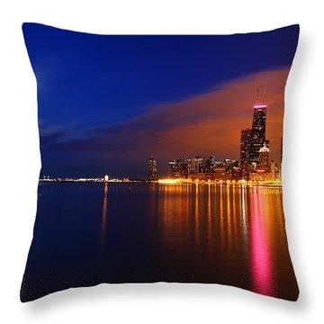 Chicago Skyline Moonlight Throw Pillow