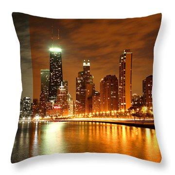 Chicago Skyline Night Amber Throw Pillow