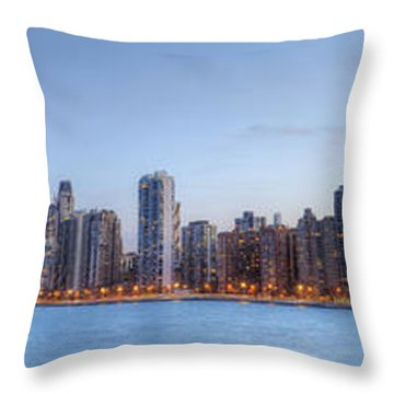 Chicago Skyline Night Panorama Throw Pillow by Shawn Everhart