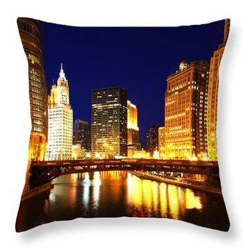 Chicago Skyline Night River Throw Pillow