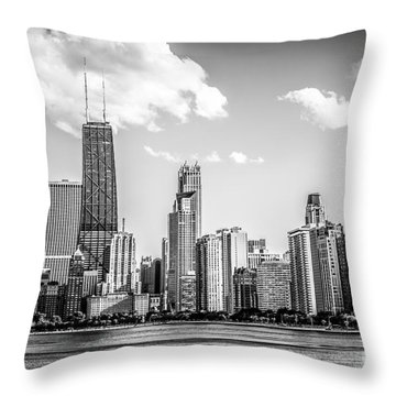 Chicago Skyline Picture In Black And White Throw Pillow by Paul Velgos