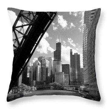 Chicago-skyline-raised Bridge Black White Throw Pillow