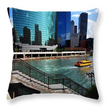 Chicago Skyline River Boat Throw Pillow