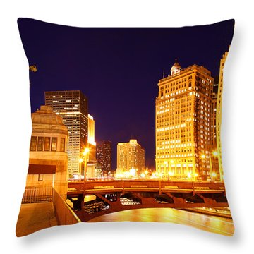 Chicago Skyline River Bridge Night Throw Pillow