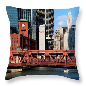 Chicago Skyline River Bridge Throw Pillow