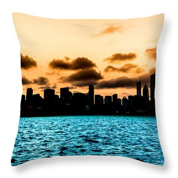 Chicago Skyline Silhouette Throw Pillow by Semmick Photo