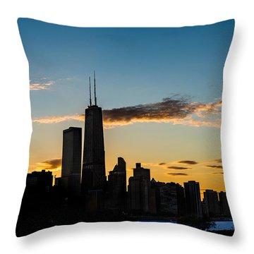 Chicago Skyline Silhouette Throw Pillow