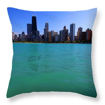 Chicago Skyline Teal Water Throw Pillow