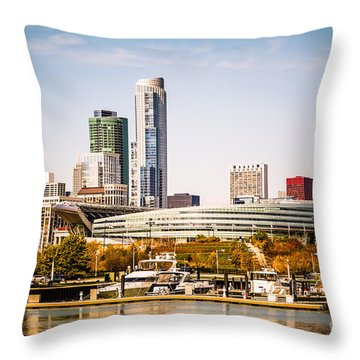 Chicago Skyline With Soldier Field Throw Pillow