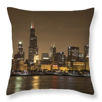 Chicago Skyline - World Aids Day 12/1/12 Throw Pillow