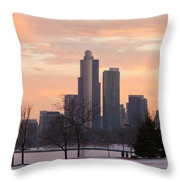 Chicago Skyscrapers In Sunset Throw Pillow