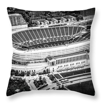 Chicago Soldier Field Aerial Picture In Black And White Throw Pillow by Paul Velgos