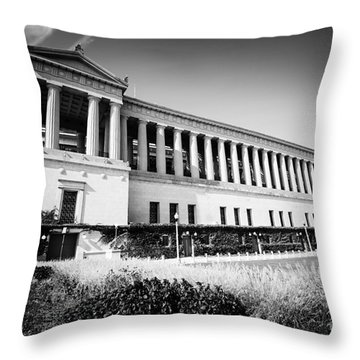 Chicago Solider Field Black And White Picture Throw Pillow by Paul Velgos