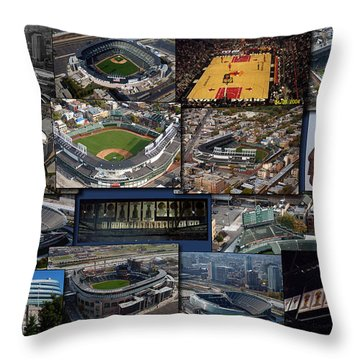 Chicago Sports Collage Throw Pillow by Thomas Woolworth