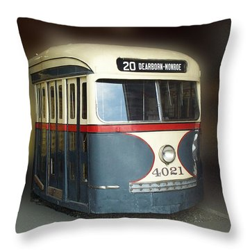 Chicago Street Car 20 Throw Pillow by Thomas Woolworth