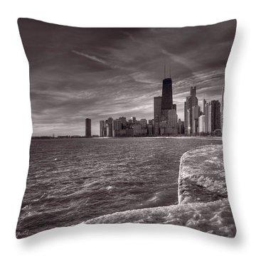 Chicago Sunrise Bw Throw Pillow by Steve Gadomski