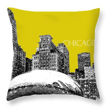 Chicago The Bean - Mustard Throw Pillow by DB Artist
