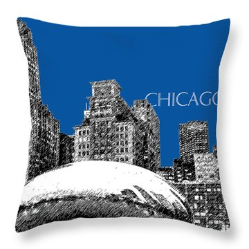 Chicago The Bean - Royal Blue Throw Pillow by DB Artist