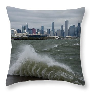 Chicago    The Windy City Throw Pillow