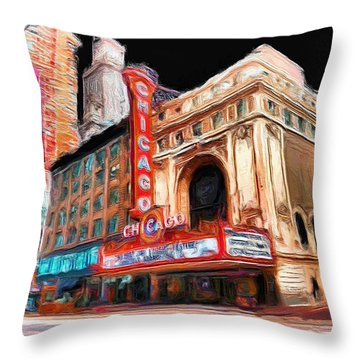Chicago Theater - 23 Throw Pillow by Ely Arsha