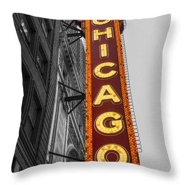 Chicago Theater Selective Color Throw Pillow