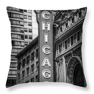 Chicago Theater Sign In Black And White Throw Pillow