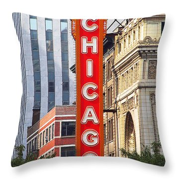 Chicago Theatre - A Classic Chicago Landmark Throw Pillow by Christine Till