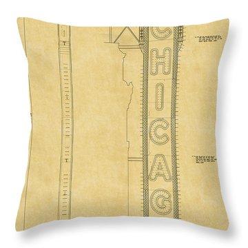 Chicago Theatre Blueprint Throw Pillow