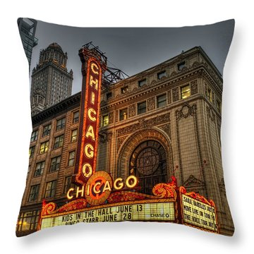 Chicago Theatre Hdr Throw Pillow