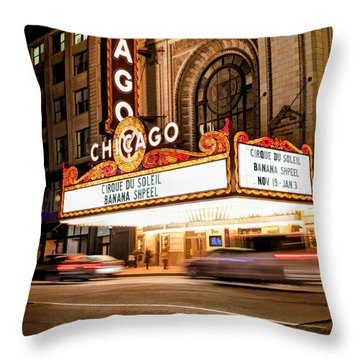 Chicago Theatre Marquee Sign At Night Throw Pillow by Christopher Arndt