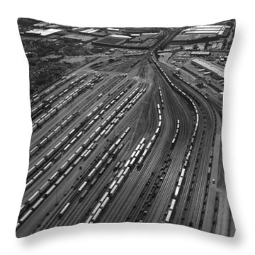 Chicago Transportation 02 Black And White Throw Pillow by Thomas Woolworth