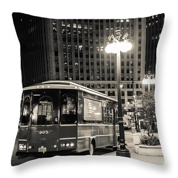 Chicago Trolly Stop Throw Pillow by Melinda Ledsome