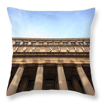 Chicago Union Station Sign And Building Columns Throw Pillow by Paul Velgos