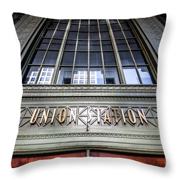Chicago Union Station Sign And Entrance Throw Pillow by Paul Velgos