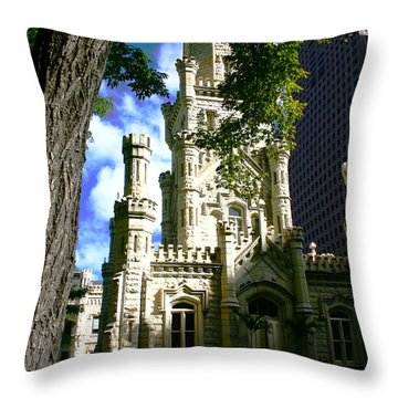 Chicago Water Tower Castle Throw Pillow