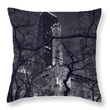 Chicago Water Tower Dusk B W Throw Pillow