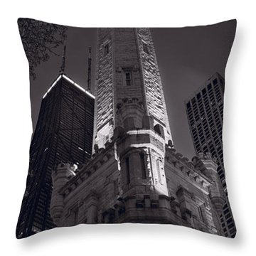 Chicago Water Tower Panorama B W Throw Pillow