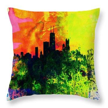 Chicago Watercolor Skyline Throw Pillow by Naxart Studio
