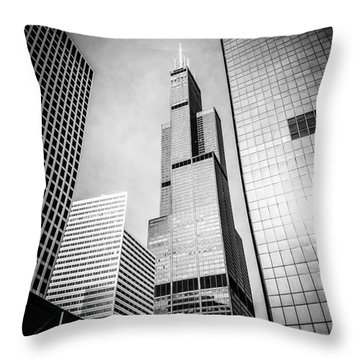 Chicago Willis-sears Tower In Black And White Throw Pillow by Paul Velgos
