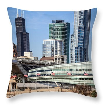Chicago With Soldier Field And Sears Tower Throw Pillow by Paul Velgos