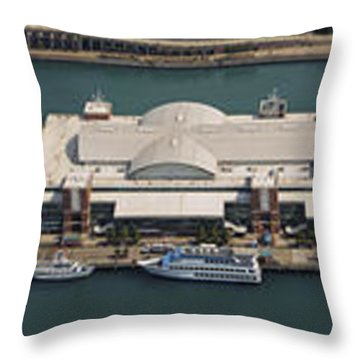 Chicago's Navy Pier Aerial Panoramic Throw Pillow