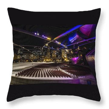 Chicago's Pritzker Pavillion With Colored Lights  Throw Pillow
