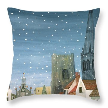 Chichester Cathedral A Snow Scene Throw Pillow by Judy Joel