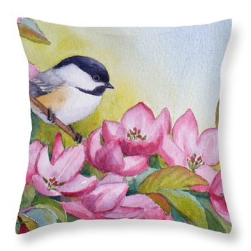 Chickadee And Crabapple Flowers Throw Pillow