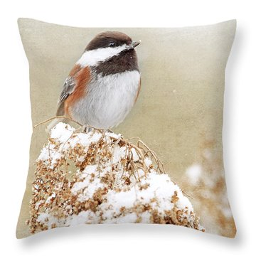 Chickadee And Falling Snow Throw Pillow by Peggy Collins